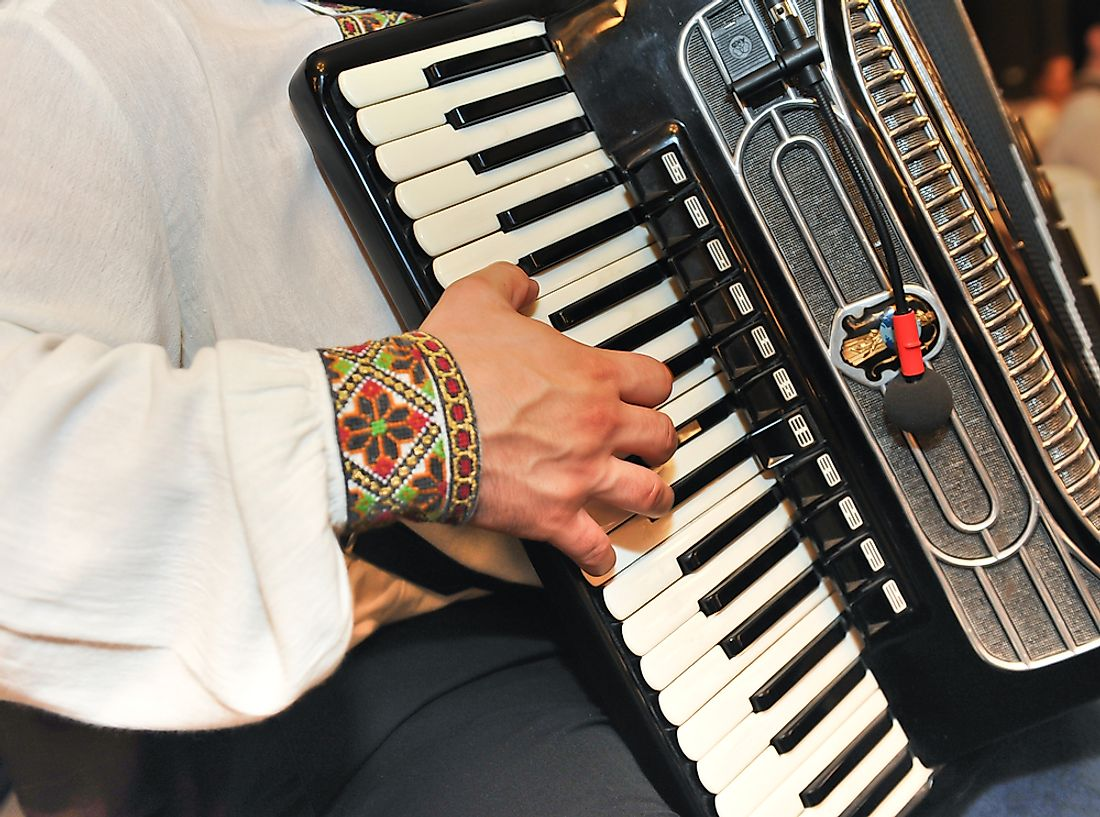 An accordion may be used to play polka music.