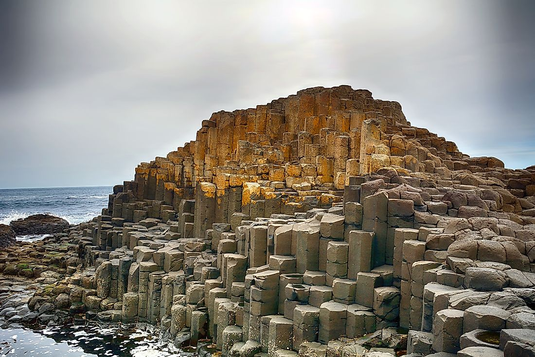 The unusual rock formation of Giant's Causeway resulted from intense volcanic activity dating back 50 to 60 million years.