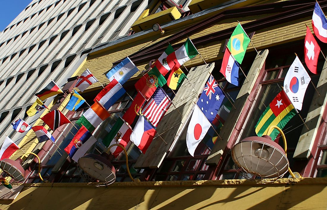 Flags from all around the world on a building in Toronto.