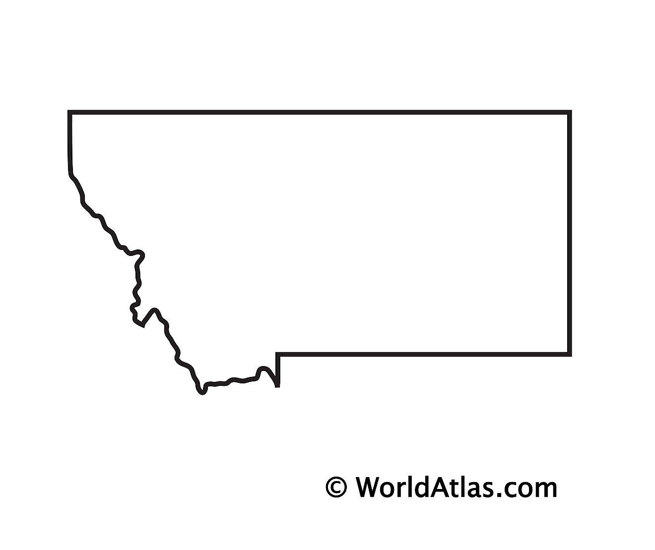 Blank Outline Map of Montana