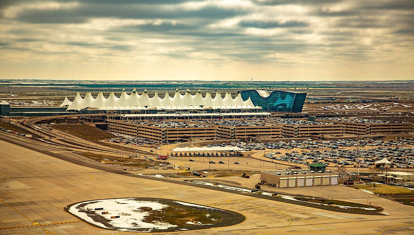 Aerial view of Denver airport terminal. Editorial credit: Bob Pool/Shutterstock.com
