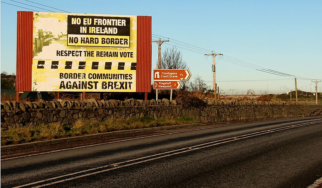 Anti-hard border sign at the border of Ireland and Northern Ireland (UK). Editorial credit: Jonny McCullagh / Shutterstock.com