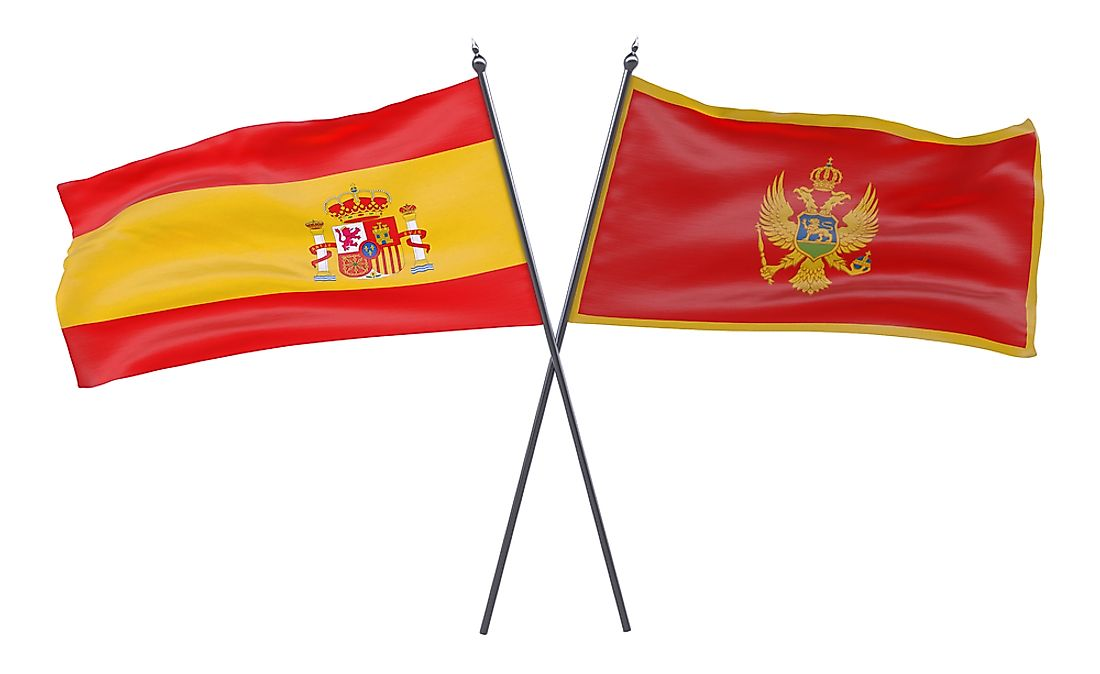 Both the flags of Montenegro and Spain feature lions in their designs.