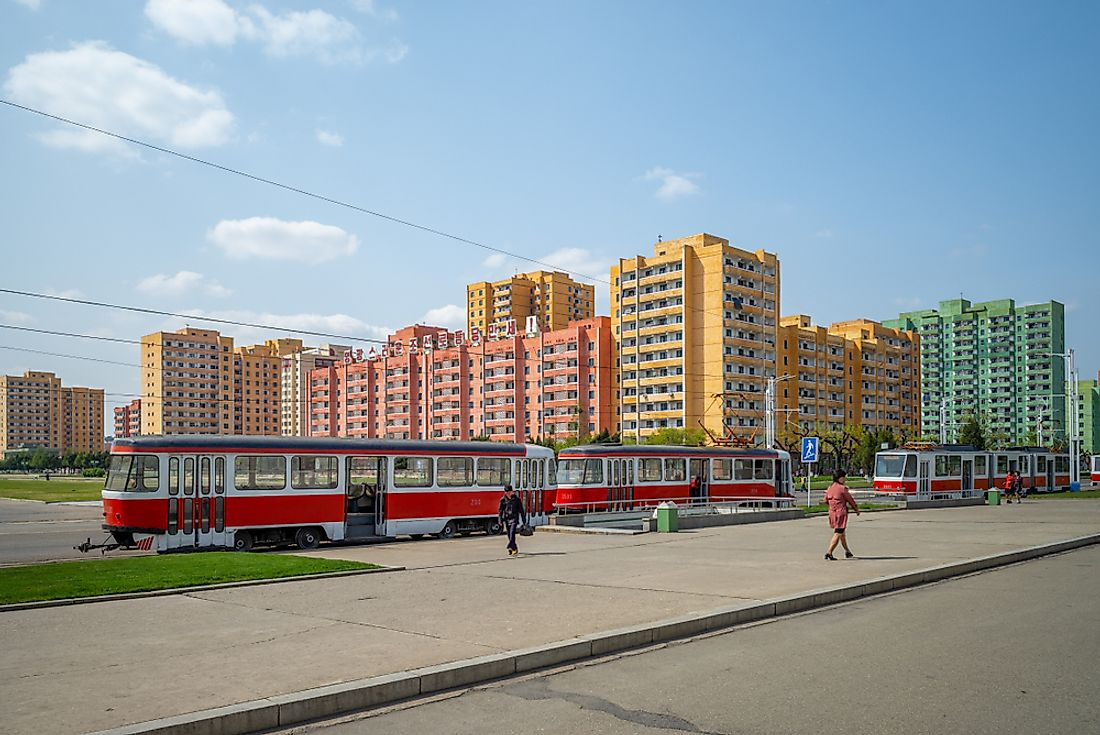 A street scene from Pyongyang. Editorial credit: Richie Chan / Shutterstock.com.
