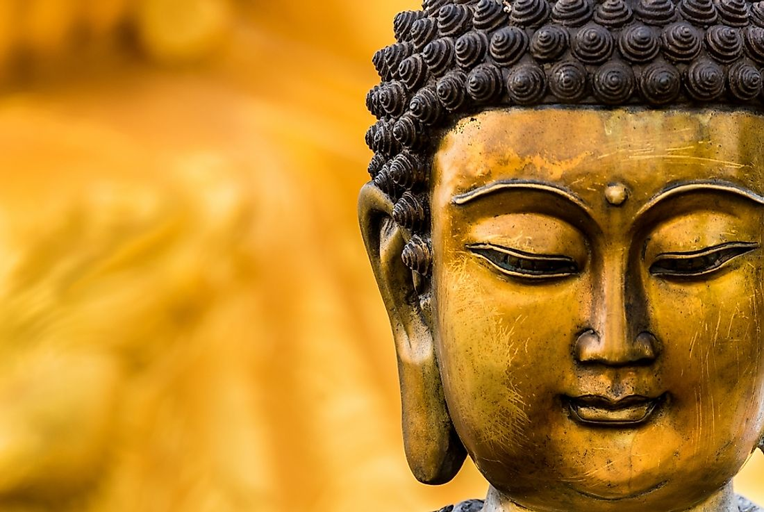 Buddha statues are used as symbols of the Buddhist faith.