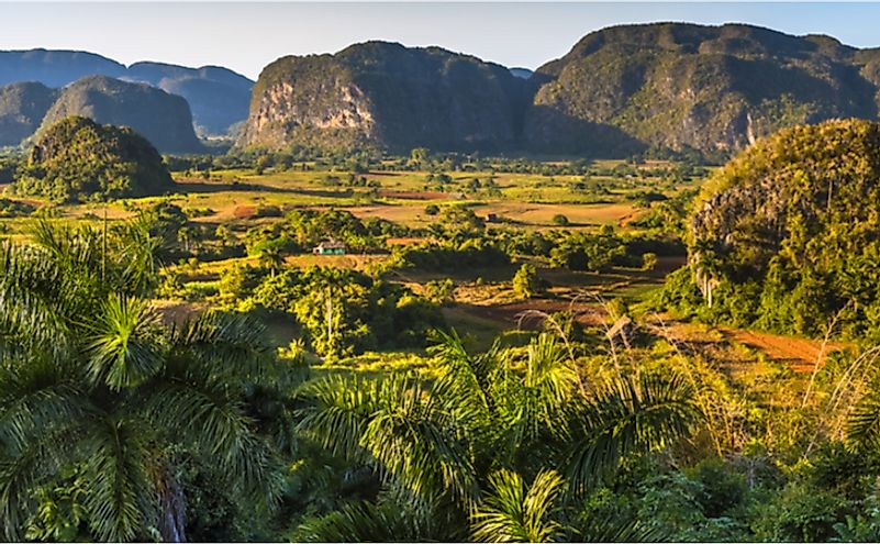 View of the Viñales Valley, a UNESCO World Heritage Site in Cuba.