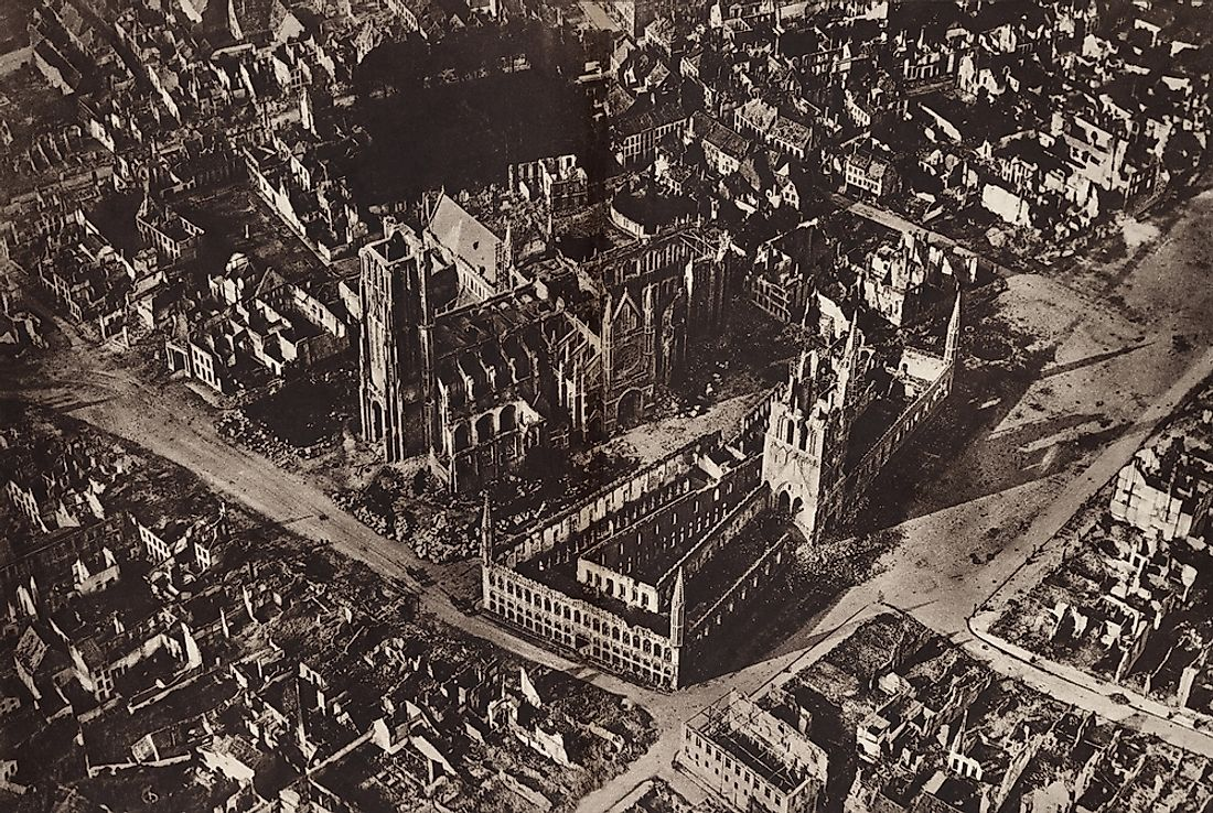 An aerial view of Ypres during WWI.