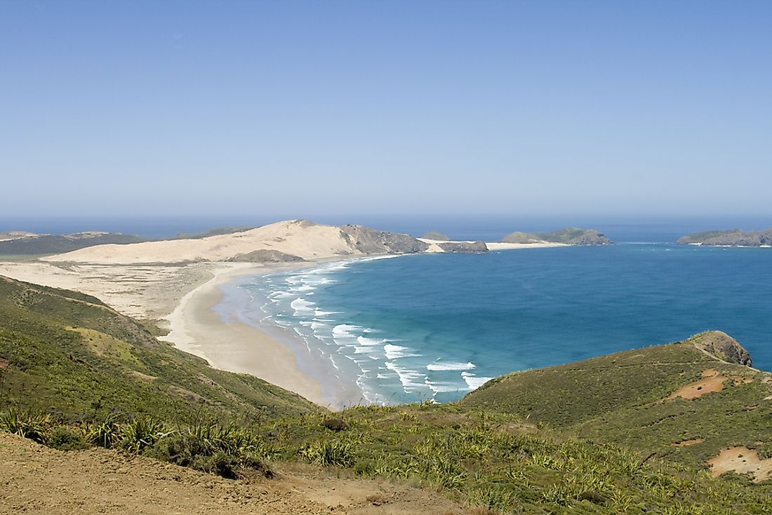 View of Ninety Mile Beach, looking out towards the Tasman Sea, from the slopes above it on Aupouri Peninunsula, North Island, New Zealand.