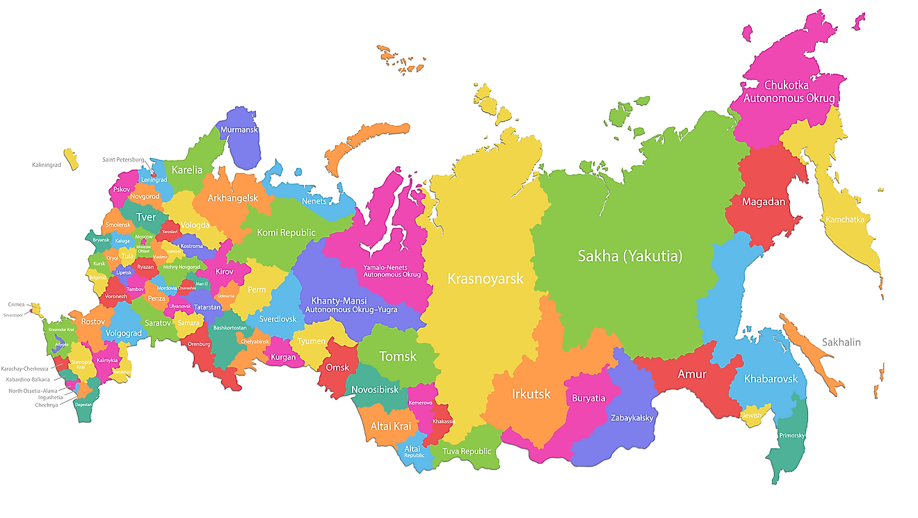 Administrative Map of Russia showing its major administrative divisions.
