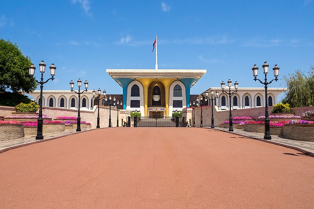 The Royal Palace of the Sultan of Oman. Oman is an absolute monarchy.