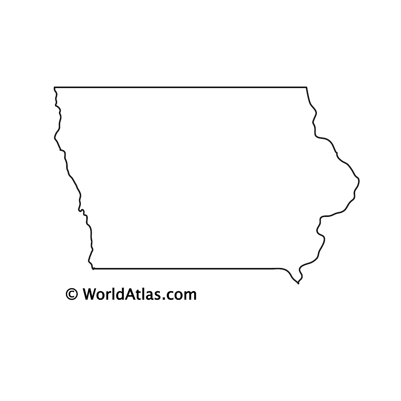 Blank Outline Map of Iowa