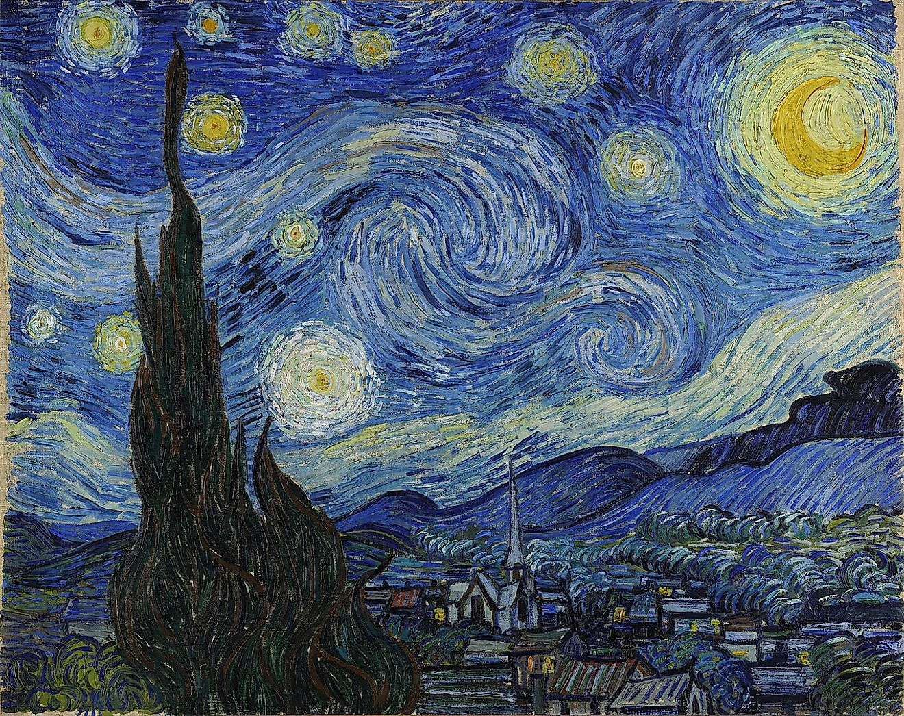 The Starry Night, a famous painting by Vincent Van Gogh.