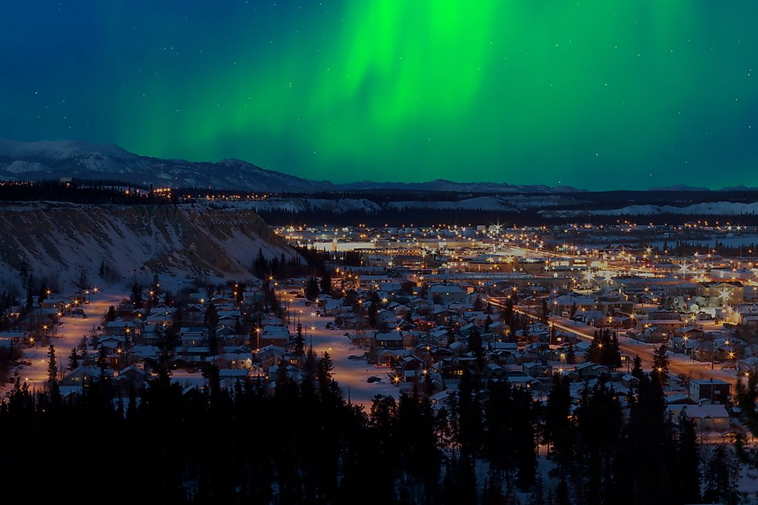 The northern lights seen over Whitehorse, the capital of Yukon, Canada.
