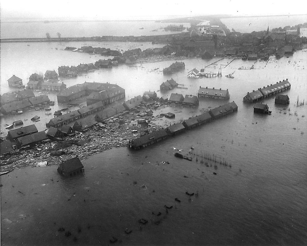 The Zuid Beveland town of Netherlands damaged by the North Sea flood of 1953.