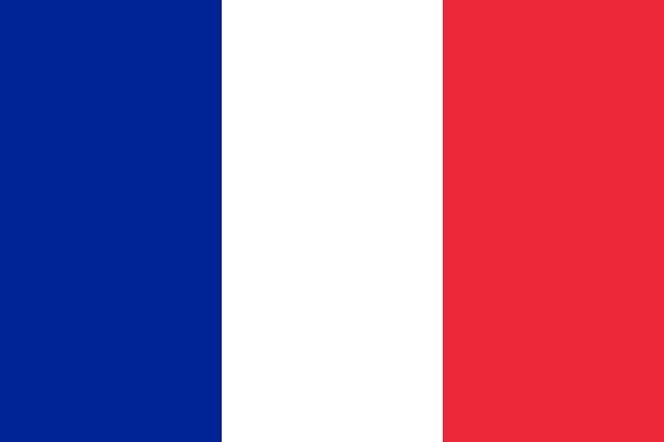 The flag of Guadeloupe is the French tricolor flag of blue, white, and red vertical bands.