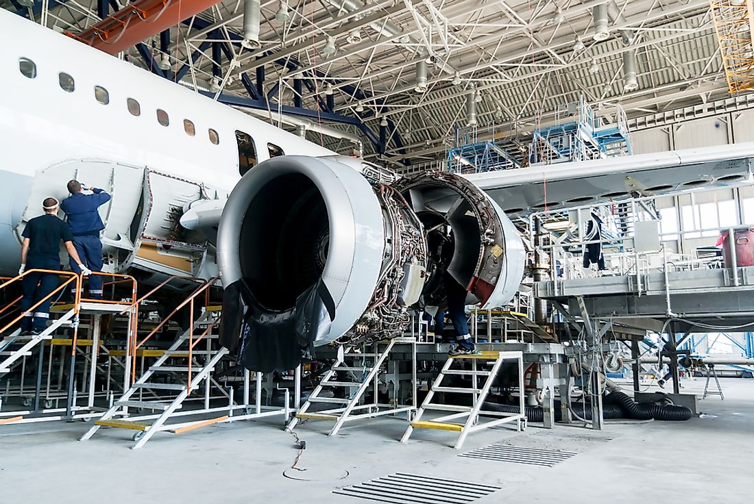 An airplane being assembled in Sofia, Bulgaria. Editorial credit: Stoyan Yotov / Shutterstock.com.