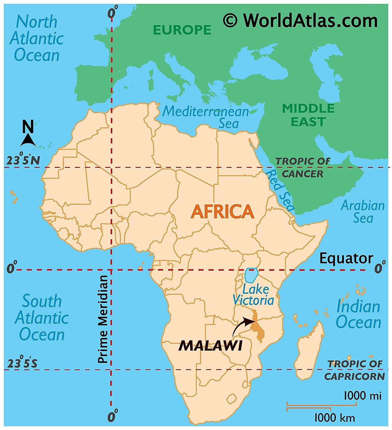 Map showing location of Malawi in the world.