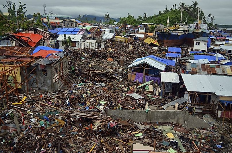 A demolished area of the Filipino city of Tacloban after being struck by Typhoon Haiyan in November of 2013.