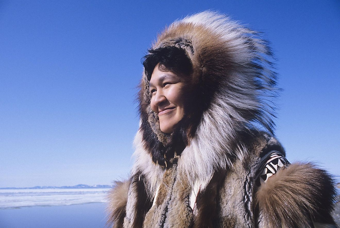 An Inuit woman in a traditional parka.