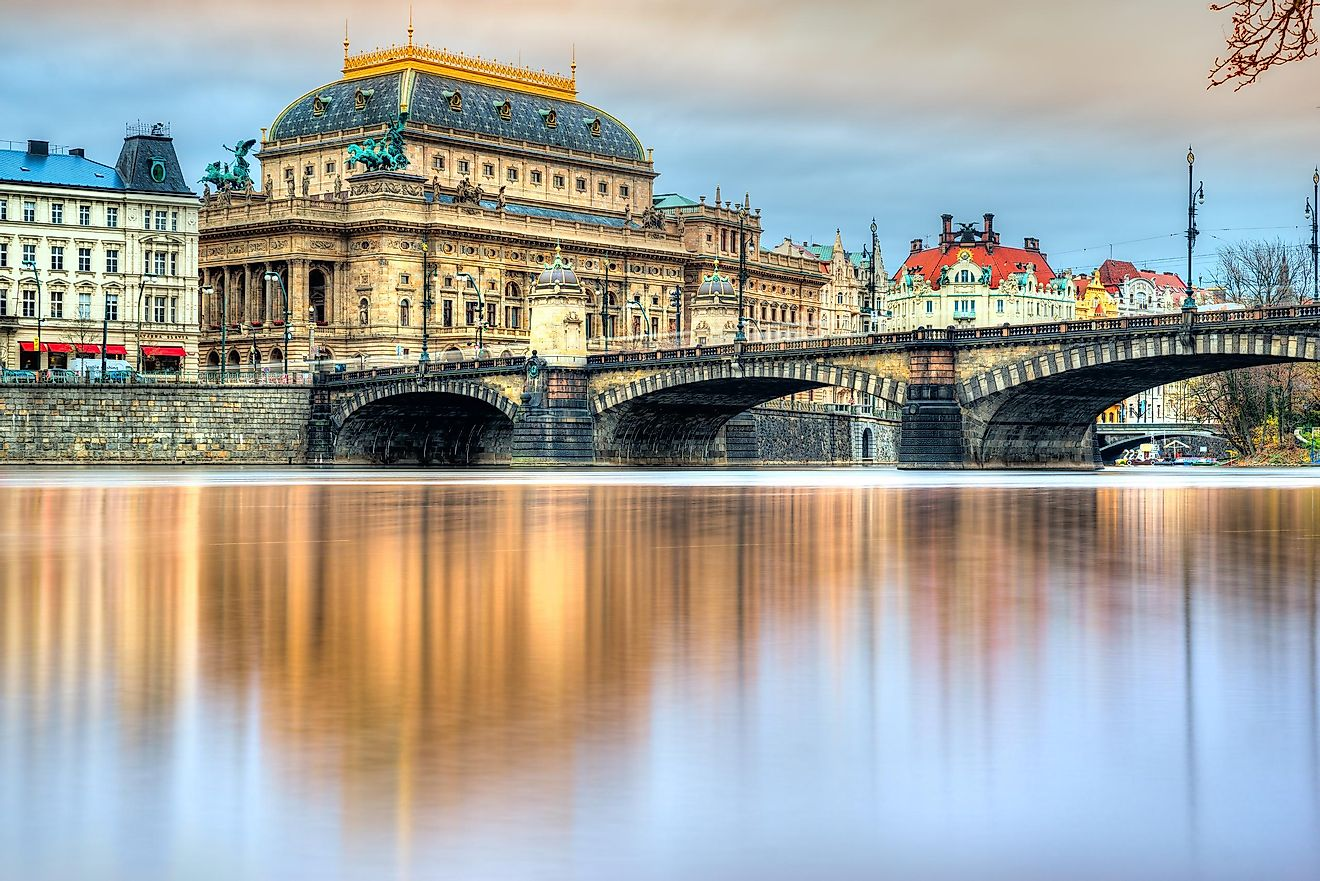 The national theater as seen across the Vitava River, the largest river in the Czech Republic.
