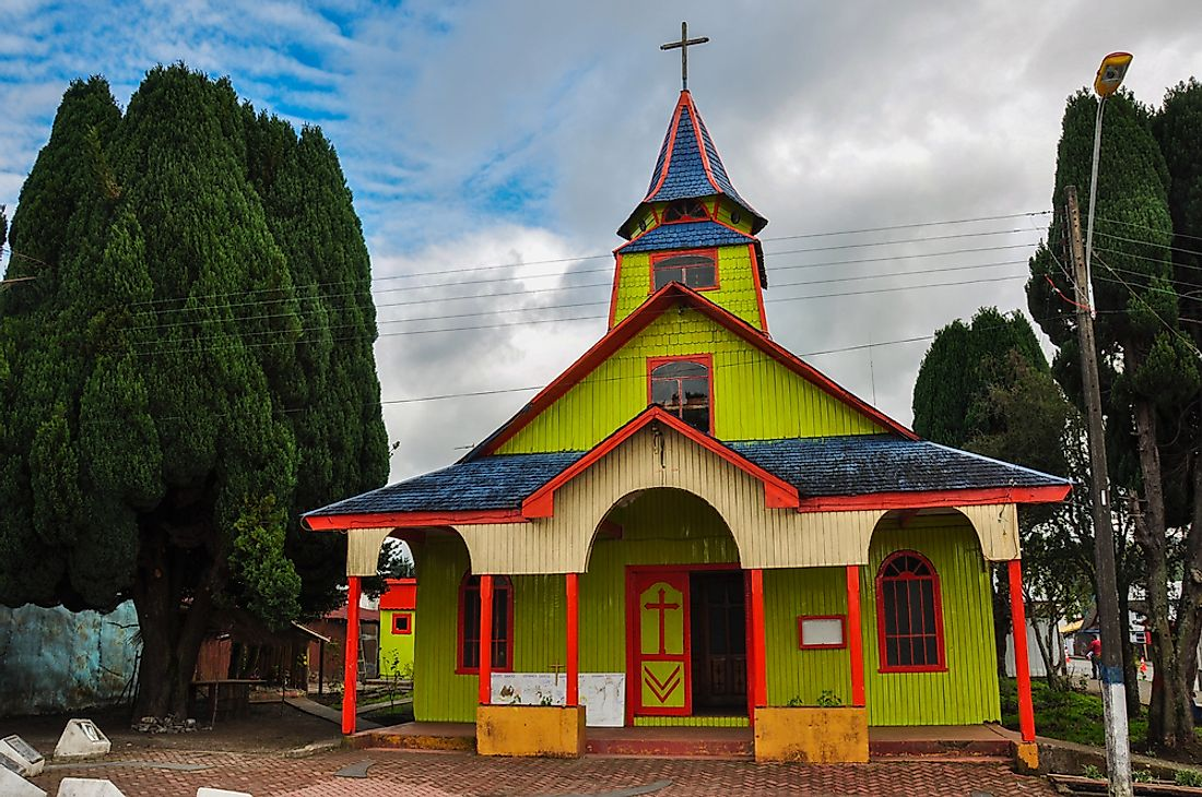 A colorful church in Chiloe Island, Chile.