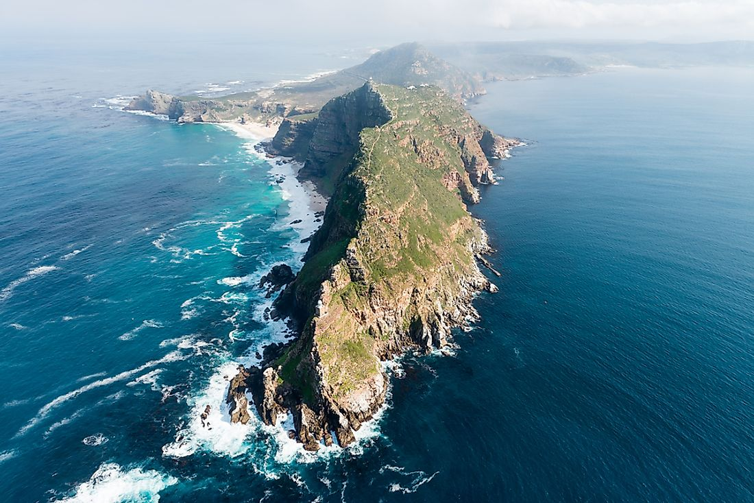 Cape Point, South Africa, where the Atlantic Ocean and the Indian Ocean meet.