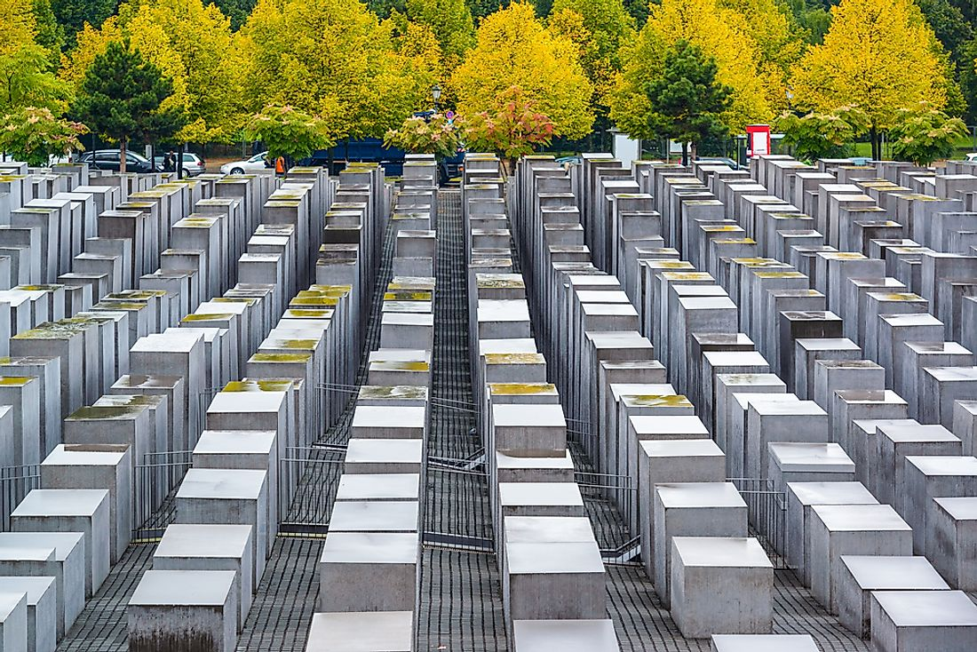 A view of the concrete slabs of the Holocaust Memorial.