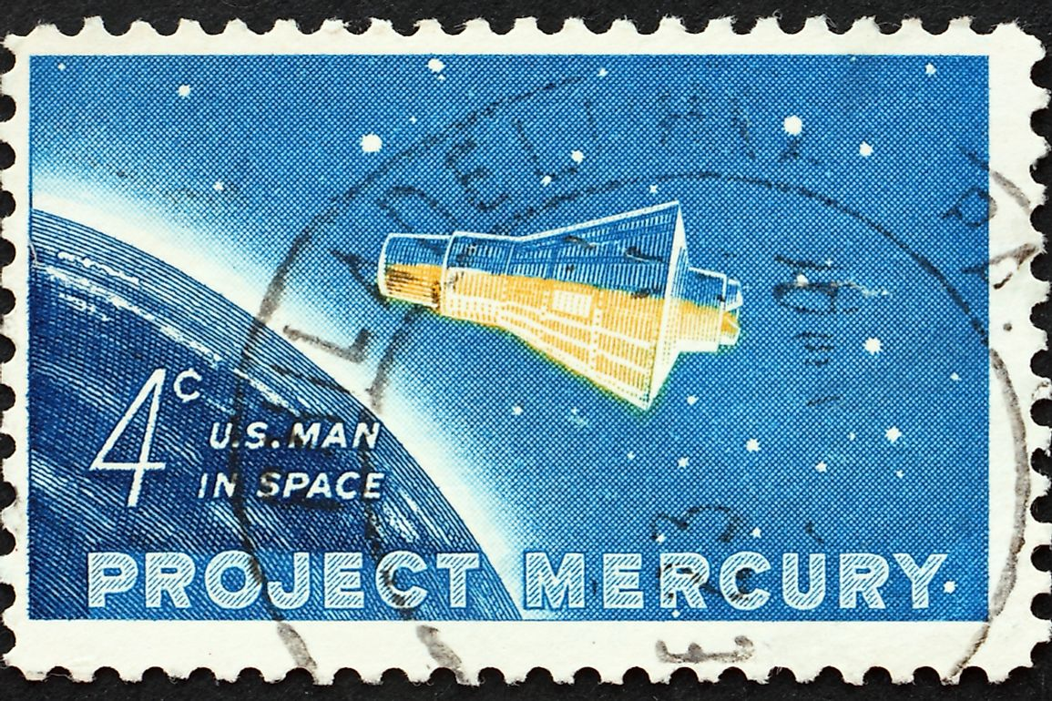 A stamp commemorating NASA's Project Mercury.