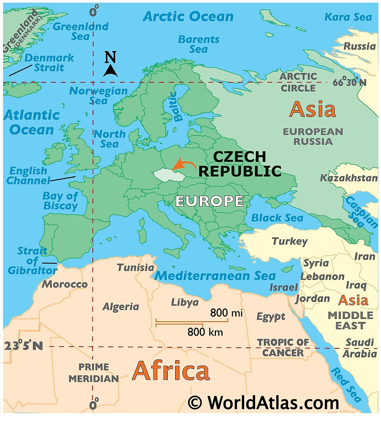 Map showing location of Czech Republic in the world.