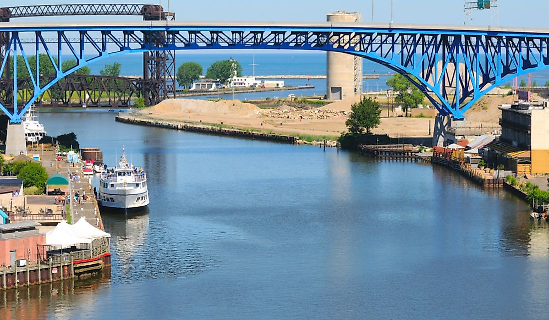 The Cuyahoga River is one Lake Erie's primary inflows.