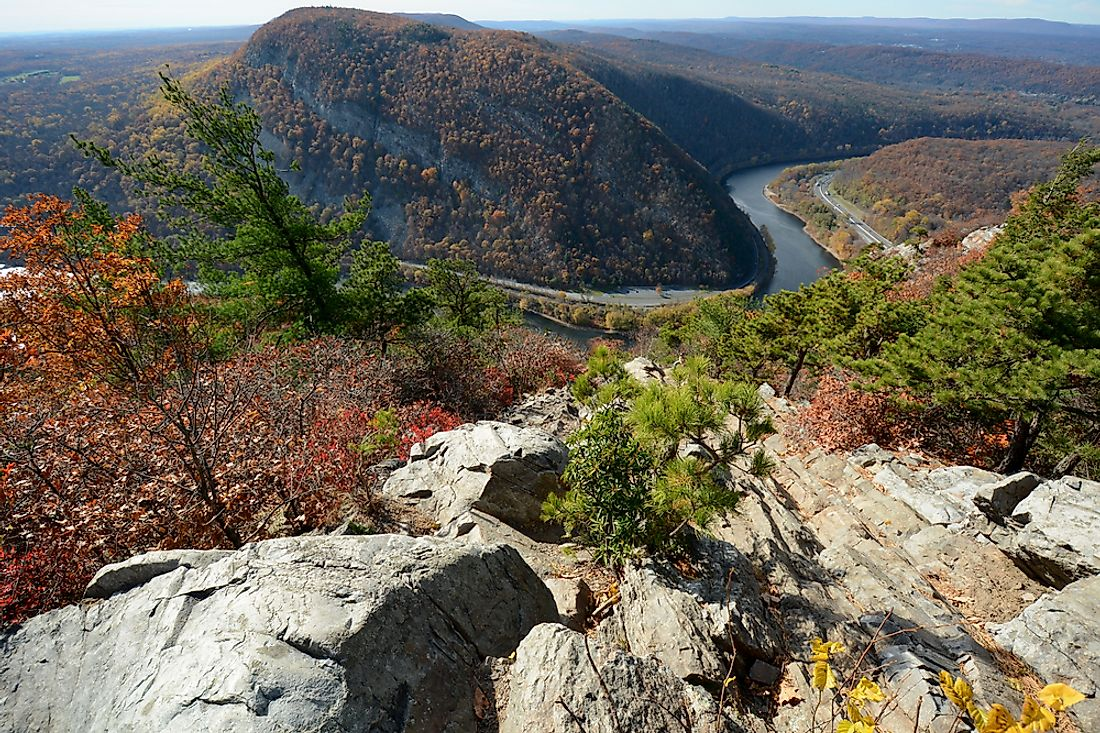 The Delaware Water gap in autumn.