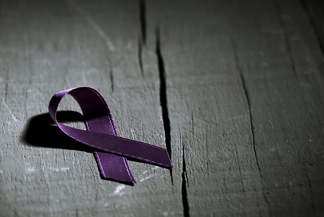 A purple ribbon representing the fight against violence aimed at women.