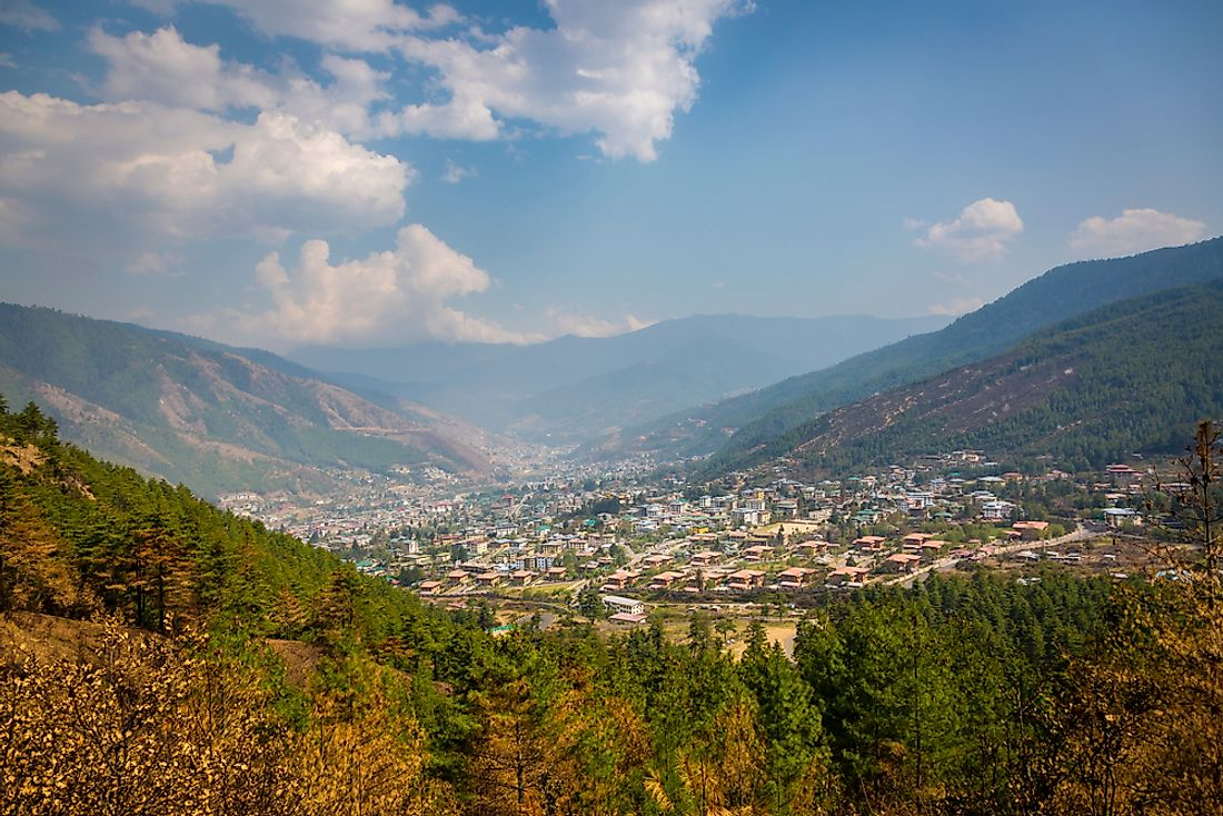 Thimpu is a peaceful and picturesque city located in the Himalayas in Bhutan. Editorial credit: Bhaven Jani / Shutterstock.com.