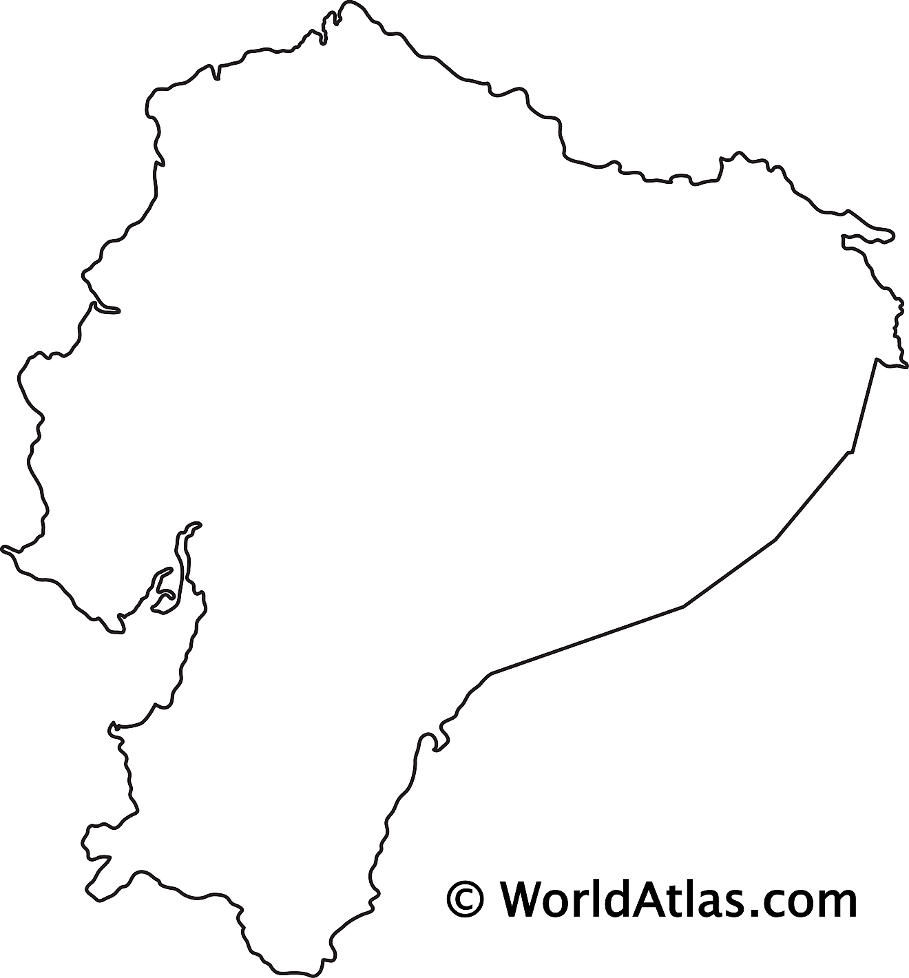 Blank Outline Map of Ecuador