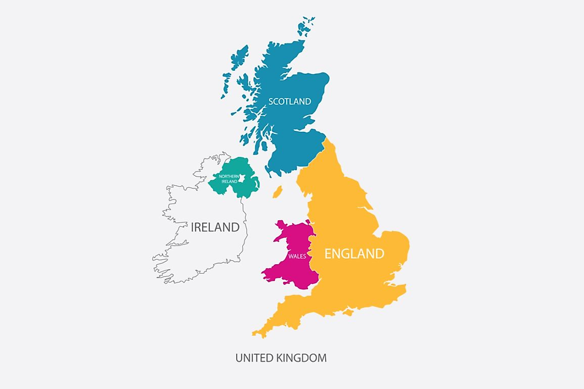 England, Scotland, and Wales are located on the island of Great Britain. When combined with Northern Ireland they make up the country of the United Kingdom.