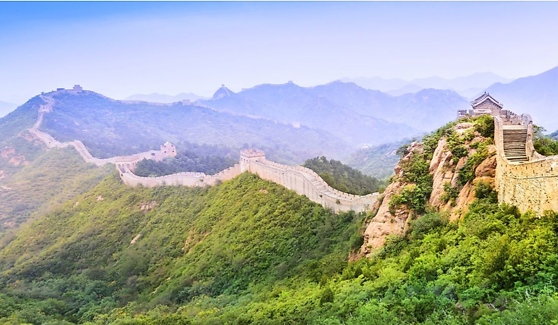 The Great Wall spans mountains, deserts, and more.