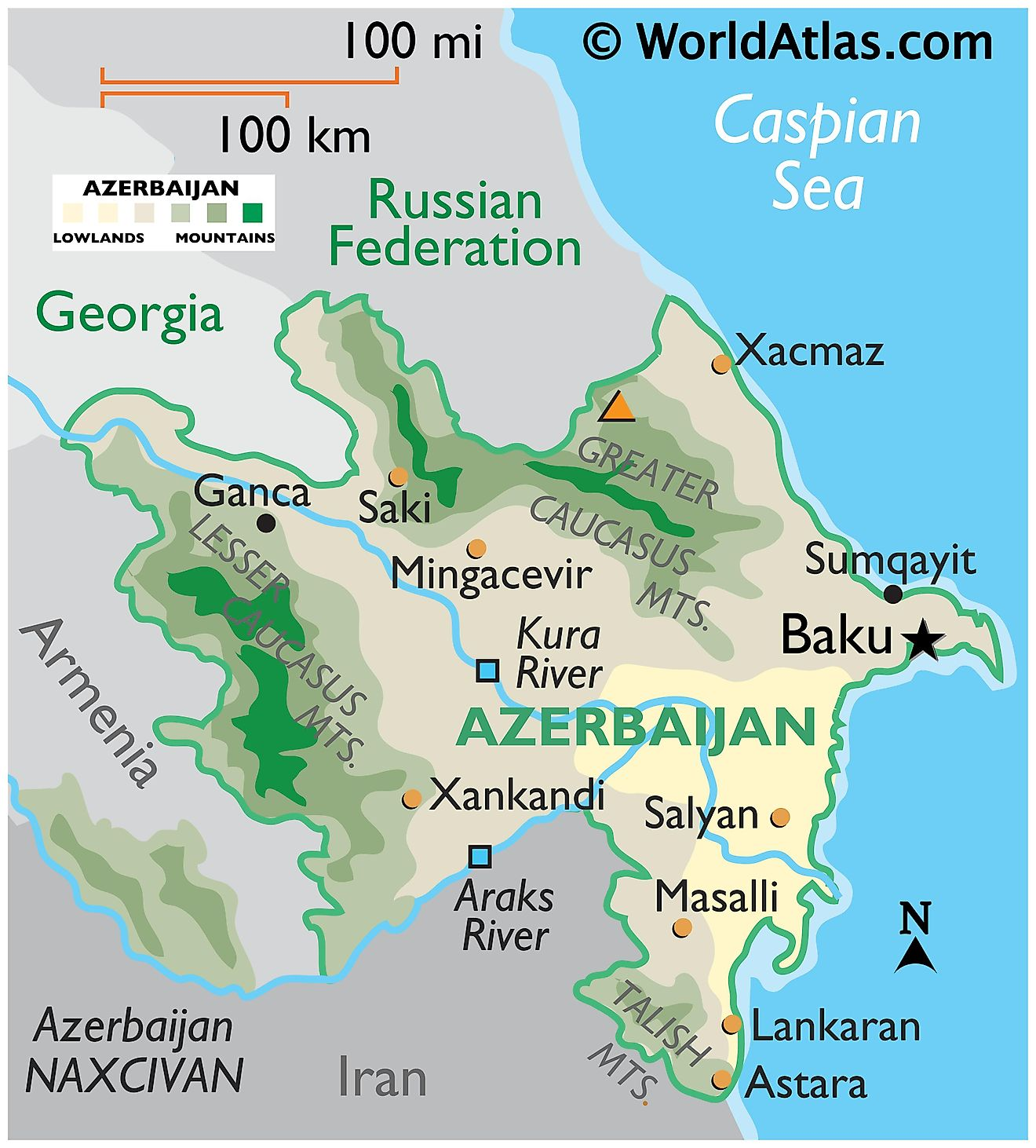 Physical Map of Azerbaijan showing state boundaries, relief, major rivers, mountain ranges, important cities, etc.