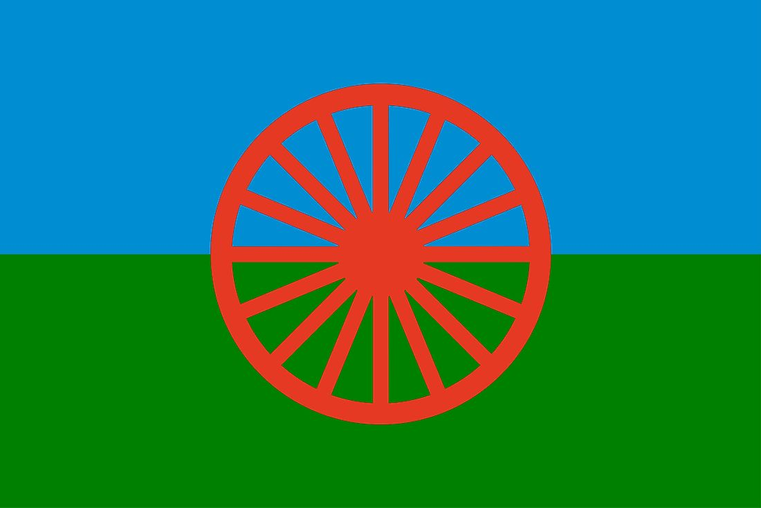 The flag of the Roma people. Many of the Roma people are considered to live a nomadic lifestyle.
