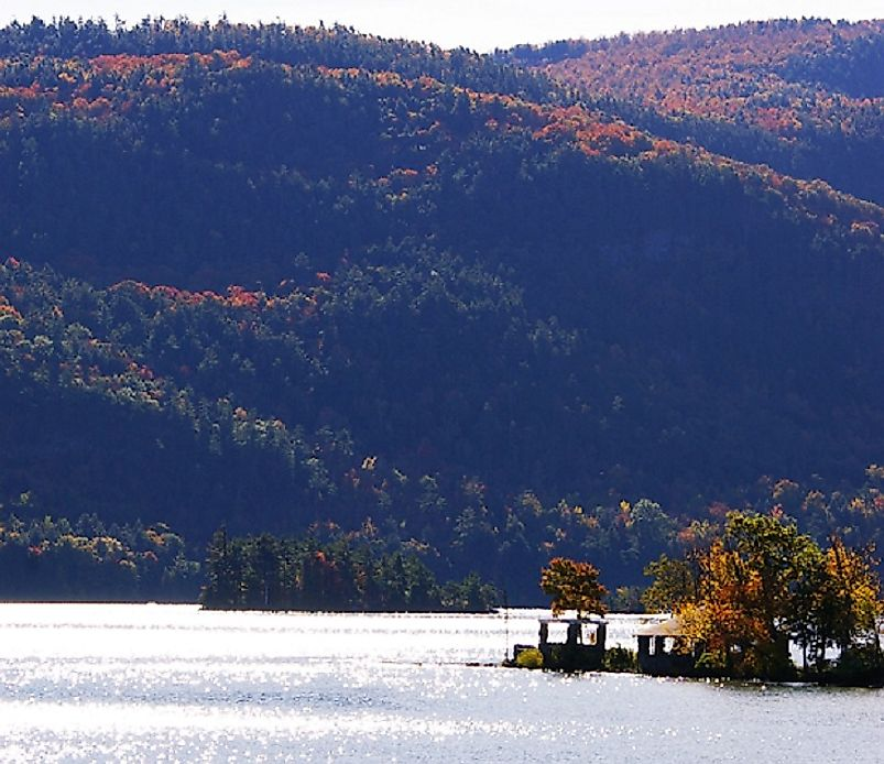Beautiful Lake George in the Adirondack Mountains in the New York State counties of Warren and Essex.