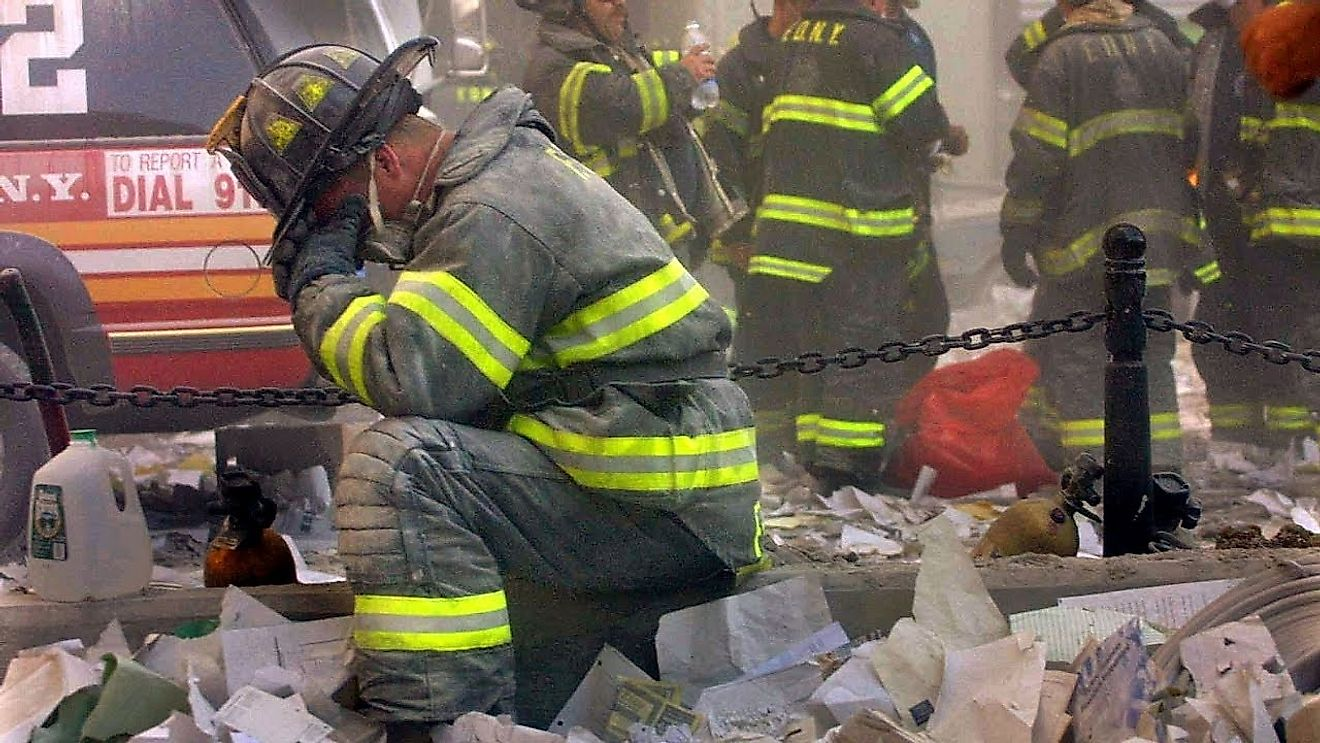 Firefighters fought vigourously on 9/11 to rescue those who were trapped inside the twin towers in New York City. Source: BusinessInsider