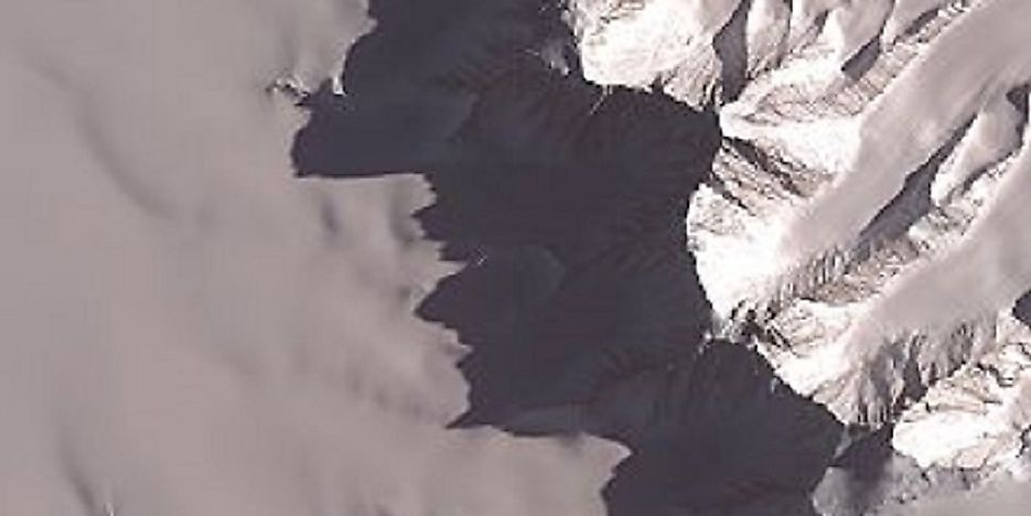 Mount Tyree, as seen from directly above by way of NASA's Advanced Space-borne Thermal Emission and Reflection Radiometer.