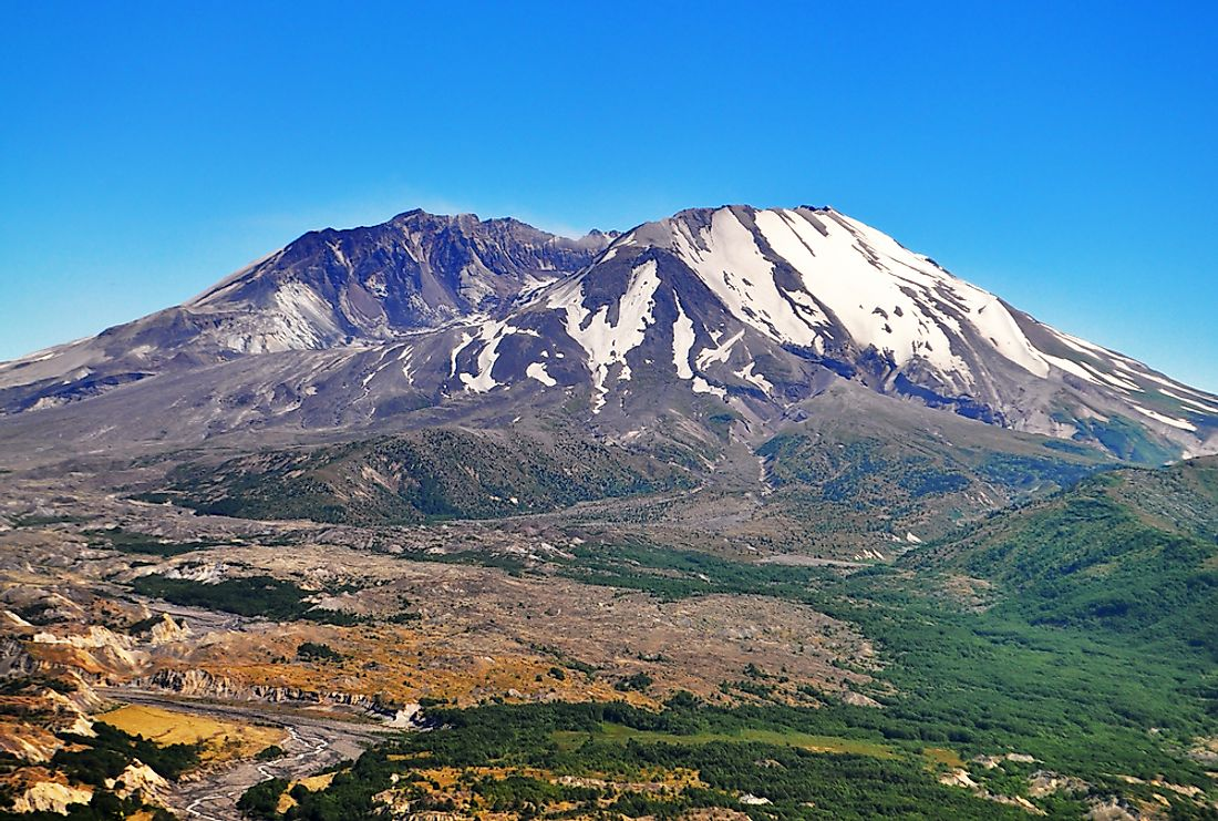 Mount St. Helens in Washington​, USA is an example of a volcanic mountain.