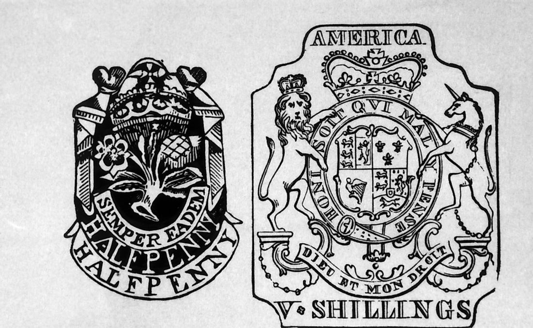 Tax stamps from the Stamp Act of 1765 by Britain on American colonies.