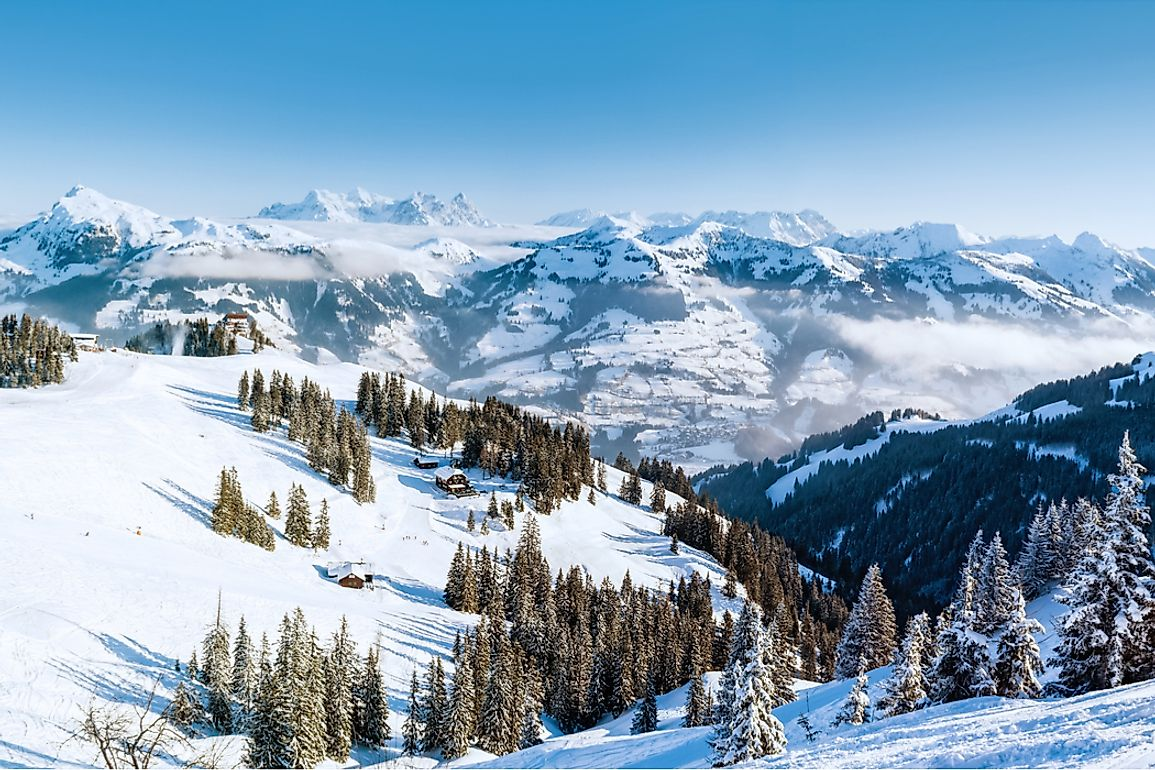 The Alps consists of several peaks and valleys with different heights and depths.