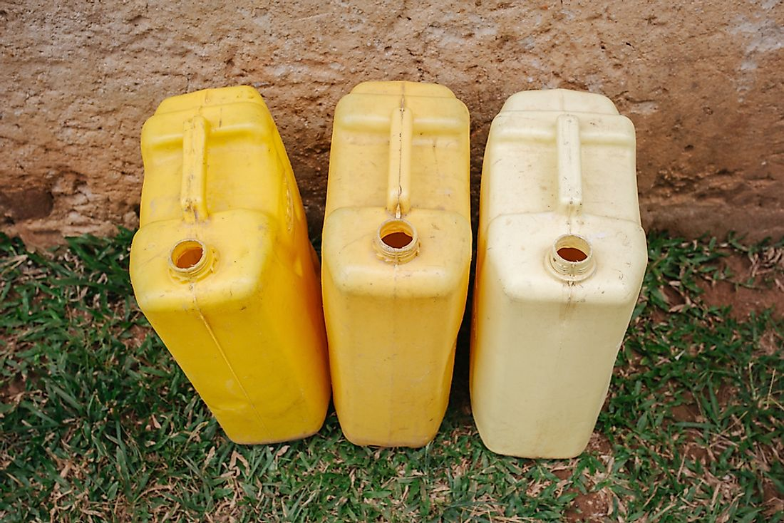 Jerry cans intended to carry water to residents affected by drought in Uganda.
