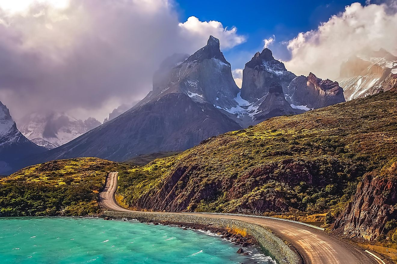 Road leading to Cuernos del Paine in Southern Chile.