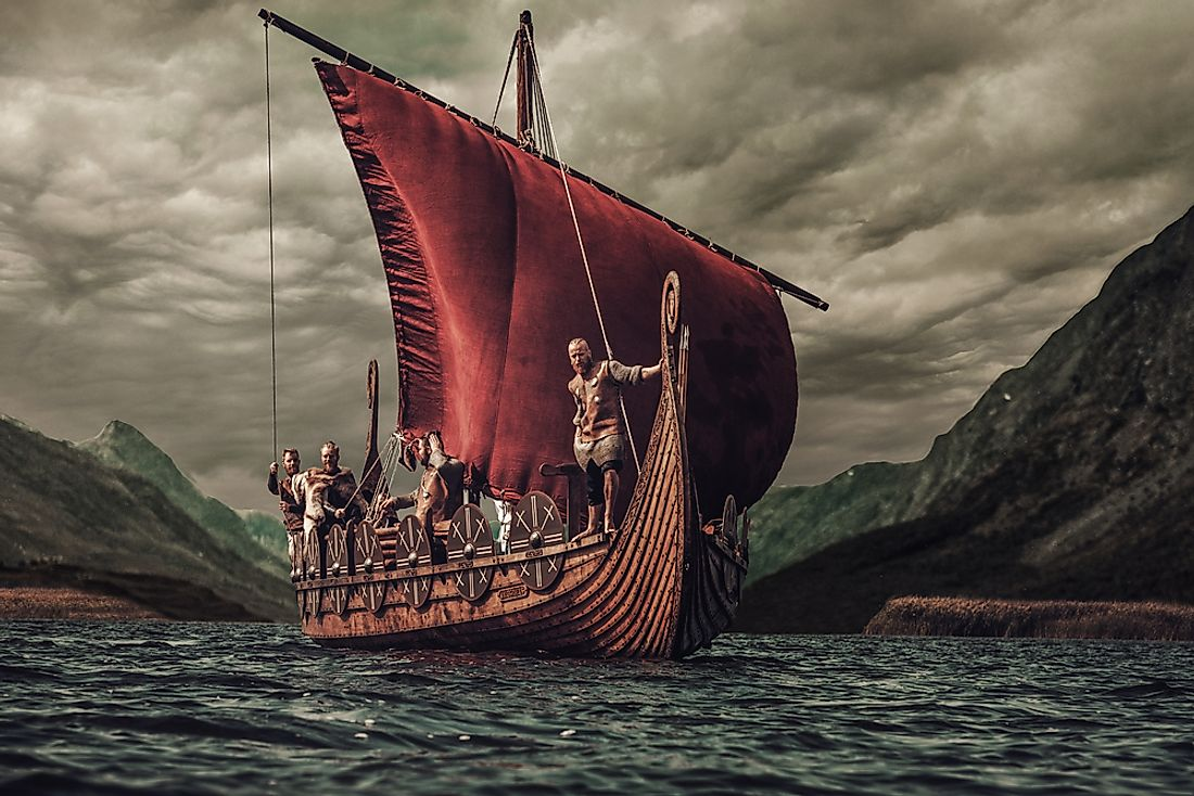 A 3D rendering of a viking longboat.