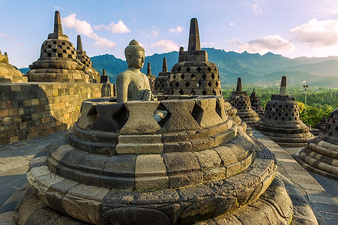 Borobudur, a famous Buddhist temple in Java, Indonesia.