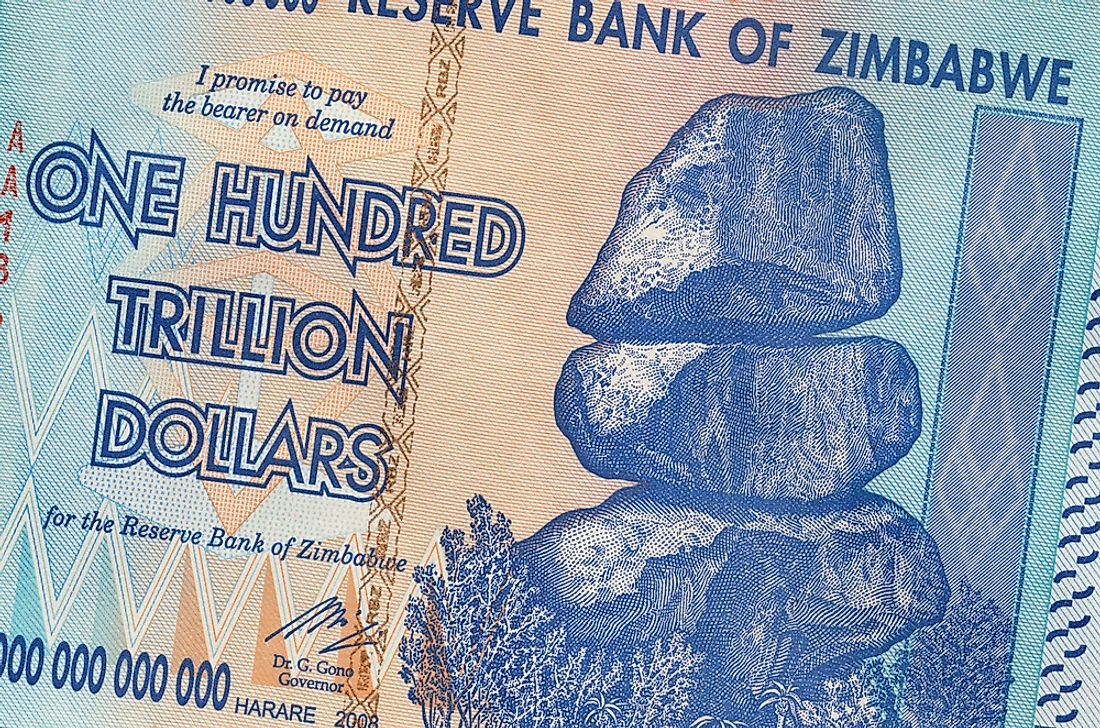 High-value notes such as this were not uncommon in Zimbabwe during the period of hyperinflation.