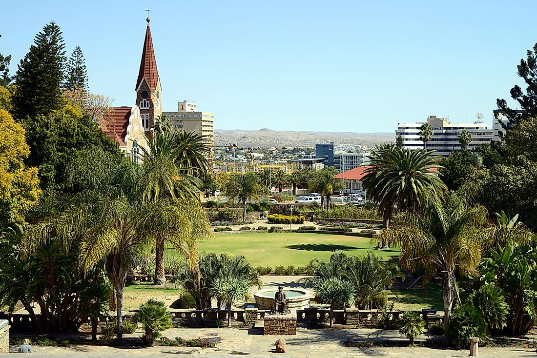 Windhoek, the largest city in Namibia.
